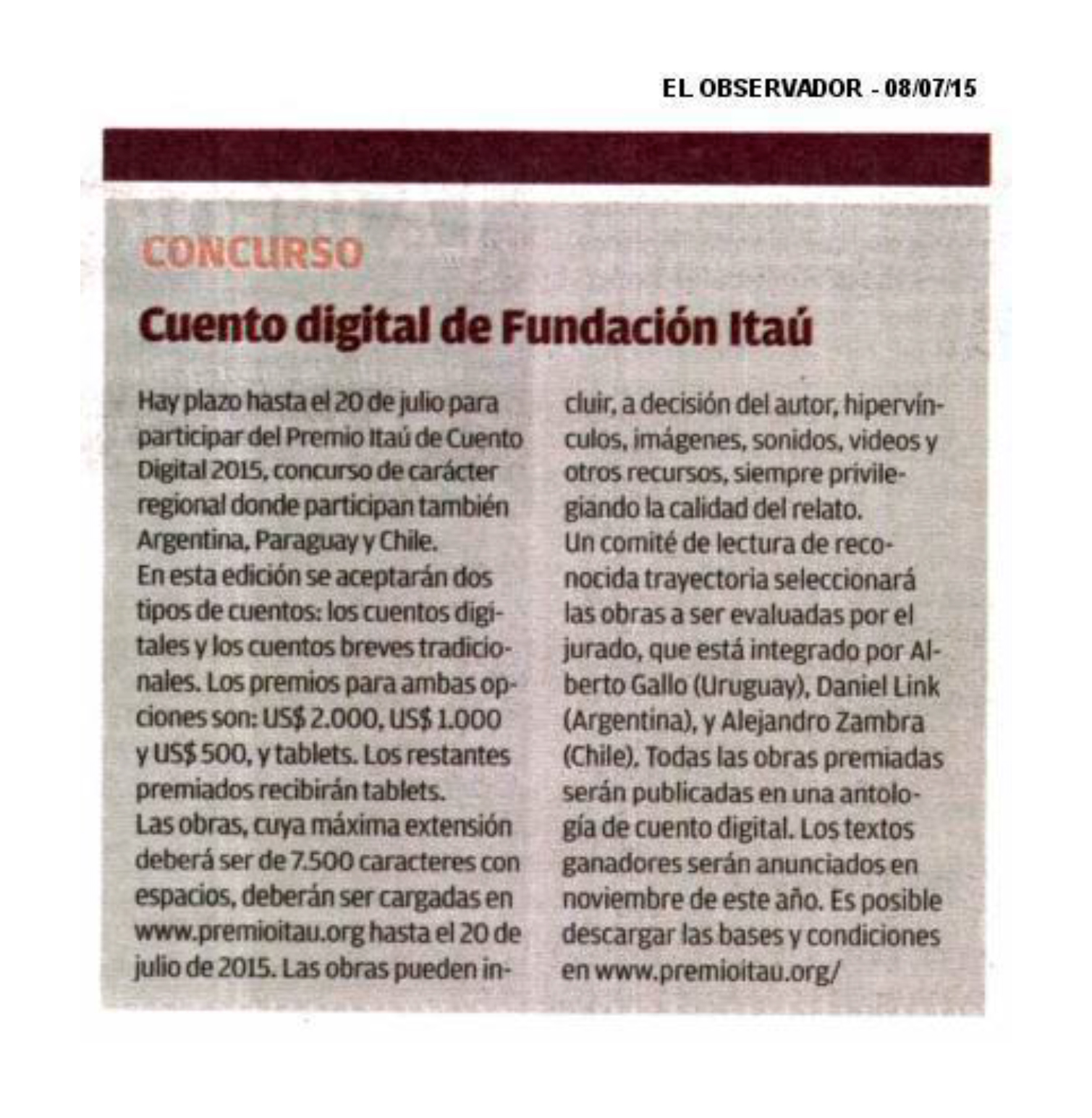 Cobertura de Prensa - Julio 2015